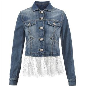 CAbi NWOT Dakota Denim Lace Trim Jacket 5297